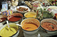 Fresh salsa. Variety of fresh homemade sauces for sale in the central market of Tacna, Peru stock images