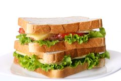 Fresh sandvich with vegetables and tomatoes Royalty Free Stock Photography