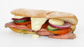 Fresh sandwich. With meat and vegetables on white background royalty free stock image