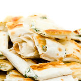 Fresh sandwich appetizers closeup. Small lavash Royalty Free Stock Photos