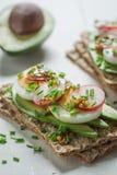 Fresh sandwich with avocado, radish and eggs Stock Photo