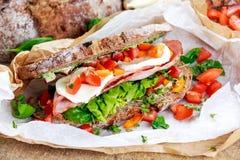 Fresh Sandwich with Bacon Lettuce Tomato and Mozzarella Stock Image