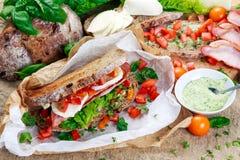 Fresh Sandwich with Bacon Lettuce Tomato and Mozzarella Stock Photography