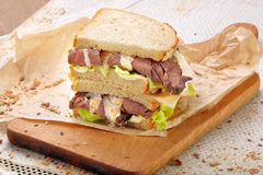 Fresh sandwich with beef and truffle sauce Royalty Free Stock Photography