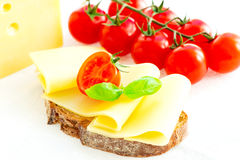 Sandwich with cheese and tomatoes Stock Photo