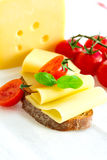 Sandwich with cheese and tomatoes on tablecloth Royalty Free Stock Photography