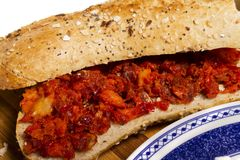 Fresh sandwich of chorizo Stock Images
