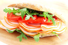 Fresh sandwich with chorizo and tomatoes Stock Images