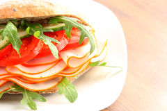 Fresh sandwich with chorizo and tomatoes Royalty Free Stock Photography