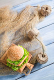 Fresh sandwich with fish and vegetables Royalty Free Stock Image