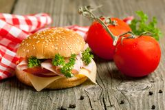 Fresh sandwich with ham and tomato Stock Photo