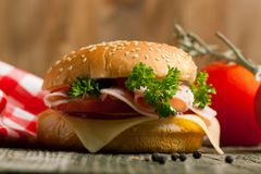 Fresh sandwich with ham and tomato Royalty Free Stock Photos
