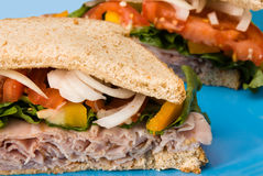 Fresh sandwich on a plate Royalty Free Stock Photo