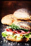 Fresh sandwich with salami and cheese Stock Photo