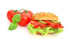 Fresh sandwich with salami cheese and vegetables Royalty Free Stock Image