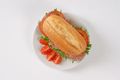 Fresh sandwich with salami Royalty Free Stock Photography