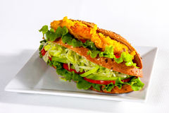 Fresh sandwich served in white plate, studio shot Royalty Free Stock Photo