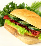 Fresh sandwich with smoked meat, cucumber Royalty Free Stock Photography