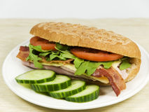 Fresh sandwich and vegetable Royalty Free Stock Images