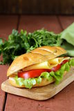 Fresh sandwich with vegetables, green salad cheese Royalty Free Stock Photography
