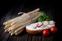 Fresh sandwich and white asparagus Royalty Free Stock Image