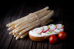 Fresh sandwich and white asparagus Stock Images