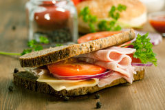 Fresh Sandwich With Ham And Tomato Royalty Free Stock Images
