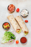 Fresh sandwich wrap with organic ingredients Royalty Free Stock Images