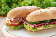 Fresh Sandwiches. Closeup of two fresh sandwiches with salami and ham stock photos