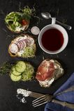 Fresh sandwiches .Healtcare concept with different fresh sandwiches with lot of vegetable Royalty Free Stock Photos