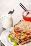 Fresh sandwiches breakfast served meal Stock Images