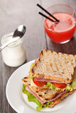 Fresh sandwiches breakfast served meal Stock Image