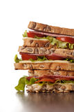 Fresh sandwiches meal on wooden background stock images