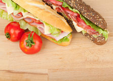 Fresh sandwiches with meat and vegetables and tomatoes Stock Photo