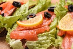 Fresh sandwiches with red fish, lettuce and lemon. Close up royalty free stock photography