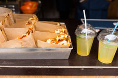 Fresh sandwiches and refreshing drinks Royalty Free Stock Photos