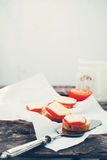 Fresh Sandwiches with Tomato and Cheese on Wooden Stock Images