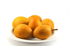 Fresh Sapodilla fruits on white background Stock Photo
