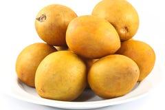 Fresh Sapodilla fruits on white background. Fresh, Sapodilla, fruits, on white background Stock Photo
