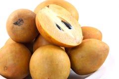 Fresh Sapodilla fruits on white background. Fresh, Sapodilla, fruits, on white background Stock Photography