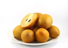 Fresh Sapodilla fruits on white background. Fresh, Sapodilla, fruits, on white background Stock Images