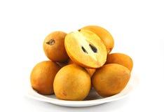 Fresh Sapodilla fruits on white background. Fresh, Sapodilla ,fruits, on white background Stock Images