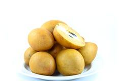 Fresh Sapodilla fruits on white background. Fresh Sapodilla , fruits on white background Royalty Free Stock Photos