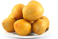 Fresh Sapodilla fruits on white background. ** Note: Soft Focus at 100%, best at smaller sizes Stock Photography