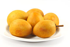Fresh sapodilla isolated,Sapodilla plum Royalty Free Stock Photos