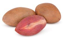 Fresh sapodilla plum with cut on white Royalty Free Stock Image