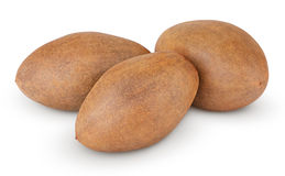 Fresh sapodilla plum on white Stock Photo