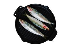 Fresh sardines on the cast-iron frying pan. Fresh sardines on the cast-iron frying pan, ready to be cooked. Omega 3. Mediterranean fish on frying pan Royalty Free Stock Photography