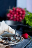 Fresh sardines. Fish with vegetables. Royalty Free Stock Image