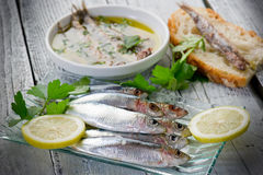 Fresh sardines with lemon Royalty Free Stock Photos